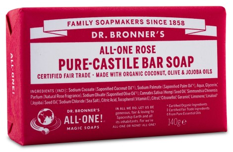 Dr Bronner Pure Castile Bar Soap Rose,  - Dr Bronner